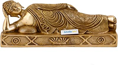 Collectible India 1FT Large Reclining Buddha Statue   Buddhism Brass Resting Home Decor Idol Sculpture