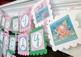 PARTY PACK SPECIAL - Bubble Guppies Inspired Happy Birthday Collection - Pale Pink Polka Dots, Baby Blue Glitter Background & Spring Green and White Accents - Party Packs Available