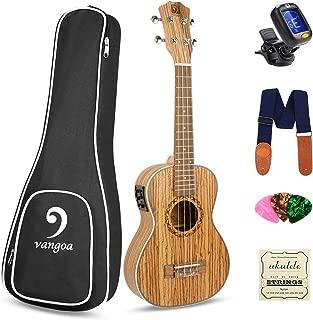 Electric Ukulele Concert 23 inch Zebrawood Uke Acoustic Hawaiian Ukelele Professional Ukulele Instrument Kit, by Vangoa
