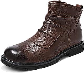 ZJHTK Bottines à Lacets Homme Cuir Chaussures de Marche Bottines Randonnée Automne Hiver Antidérapant Décontractées Boots