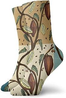 OUYouDeFangA, De dibujos animados Marrones Frutas Adultos Calcetines de Algodón Lindo Corto Calcetines Para Yoga Senderismo Ciclismo Correr