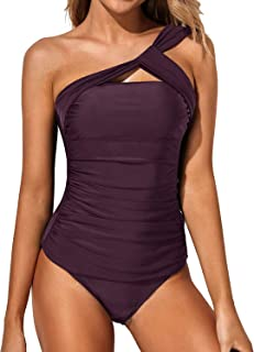 Best Women Tankini Ruched One Shoulder Tummy Control Top with Shorts Two Piece Swimsuits Review