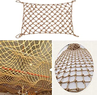 Safety Net Decor Net, Hemp Rope Net Outdoor Expansion Climbing Net Anti-aging Collapsible (Color : BEIGE-16MM, Size : 2X7M)