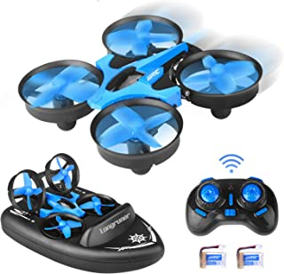 Drone for Kids, Longruner 3 in 1 Sea-Land-Air Mode RC Drone with Mini RC Drone/Remote Control Car/Remote Control Boat for Pools & Lakes, Best Birthday for Boys Kids H36F