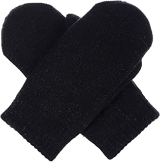 BYOS Unisex Winter Toasty Warm Plush Fleece Lined Knit Mittens in Solid & Glitter