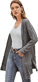 SheIn Women's Knit Loose Open Front Cardigan Sweaters Long Sleeve Outwear
