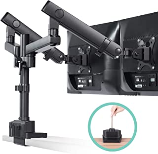 EleTab Dual Monitor Desk Mount Stand - Premium Aluminum Articulating Full Motion Computer VESA Monitor Arm, Extra Height Adjustable with Extension Pole | Heavy Duty Holds Screens up to 17.6 lbs Each
