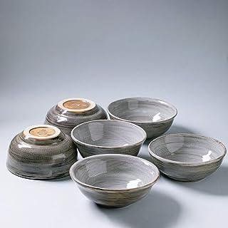 Cuenco de cerámica rústico hecho a mano Decoración para el hogar esmalte gris texturizado