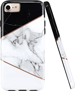 JAHOLAN Black Geometric White Marble Design Black Bumper Glossy TPU Soft Rubber Silicone Cover Phone Case Compatible with iPhone 7 iPhone 8 iPhone 6 6S