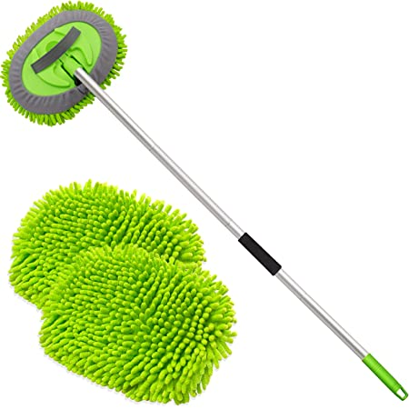 """anngrowy 62"""" Microfiber Car Wash Brush Mop Kit Mitt Sponge with Long Handle Car Cleaning Supplies Kit Duster Washing Car Tools Accessories, 1 Chenille Scratch-Free Replacement Head Aluminum Alloy Pole"""