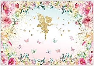Alljoy - Fondo de decoración para fiestas de cumpleaños, diseño de mariposas y flores de princesa, fondo de fotografía, 7 x 5 pies, para fiestas de cumpleaños, fiestas, estudio, etc.