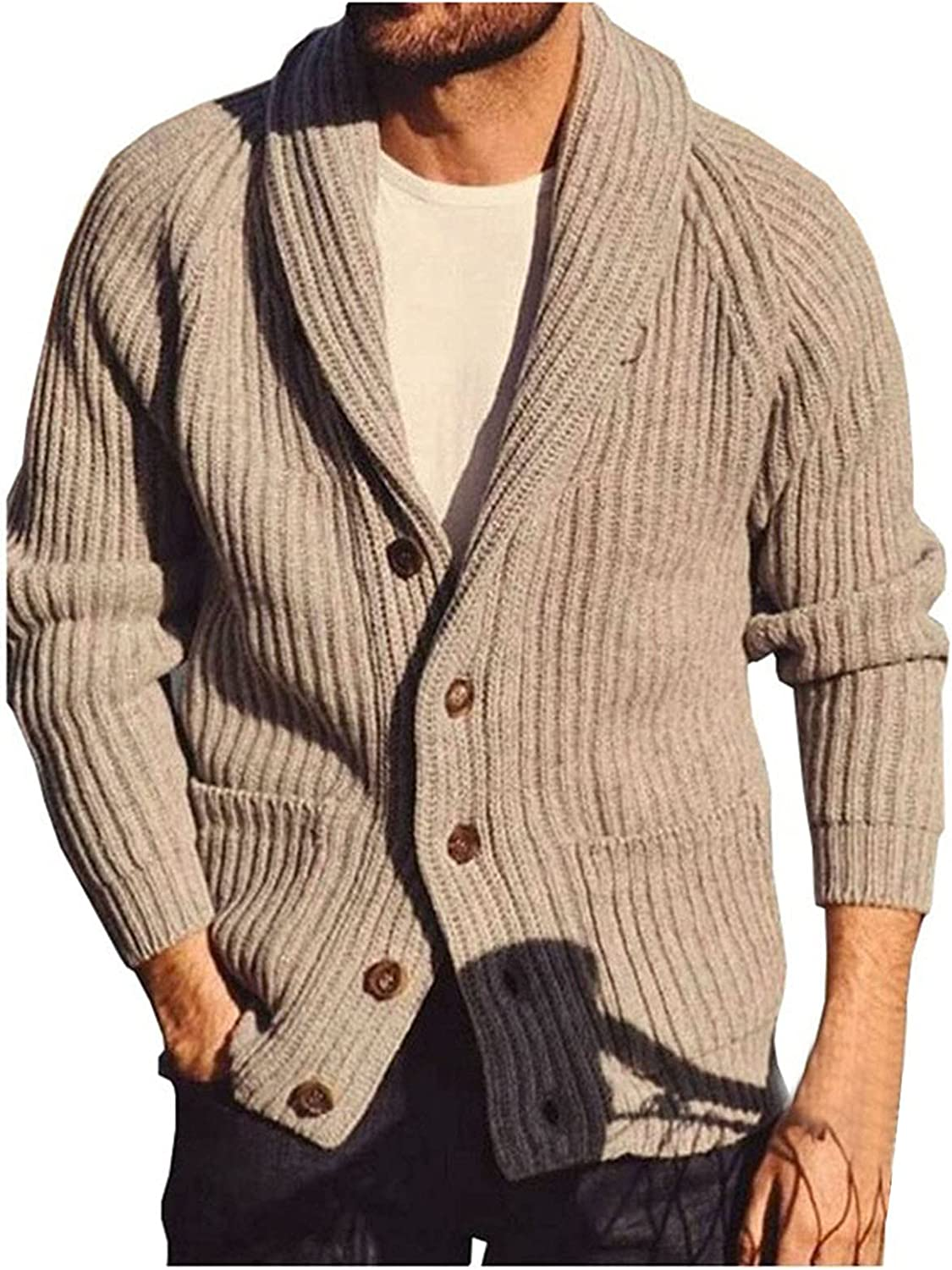Huangse Slim Fit Shawl Collar Knitted Cardigan for Men Long Sleeve Button Down Ribbed Cardigan Sweaters with Pockets