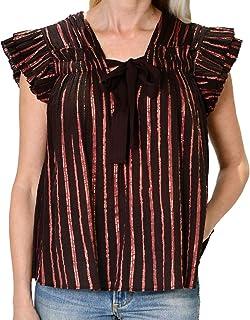 Ulla Johnson Womens Bria Striped Top Chocolate