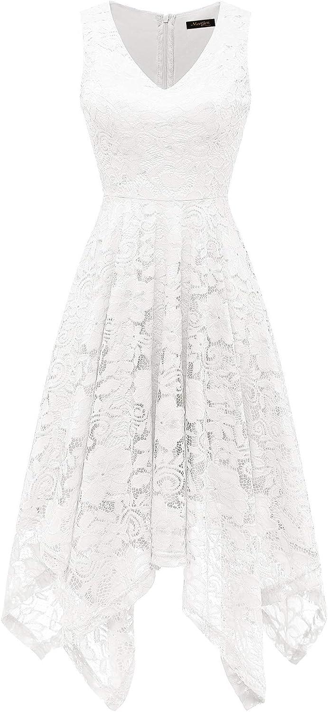 Meetjen Women's Vintage Floral Lace Dress Handkerchief Hem Asymmetrical Cocktail Formal Swing Dress