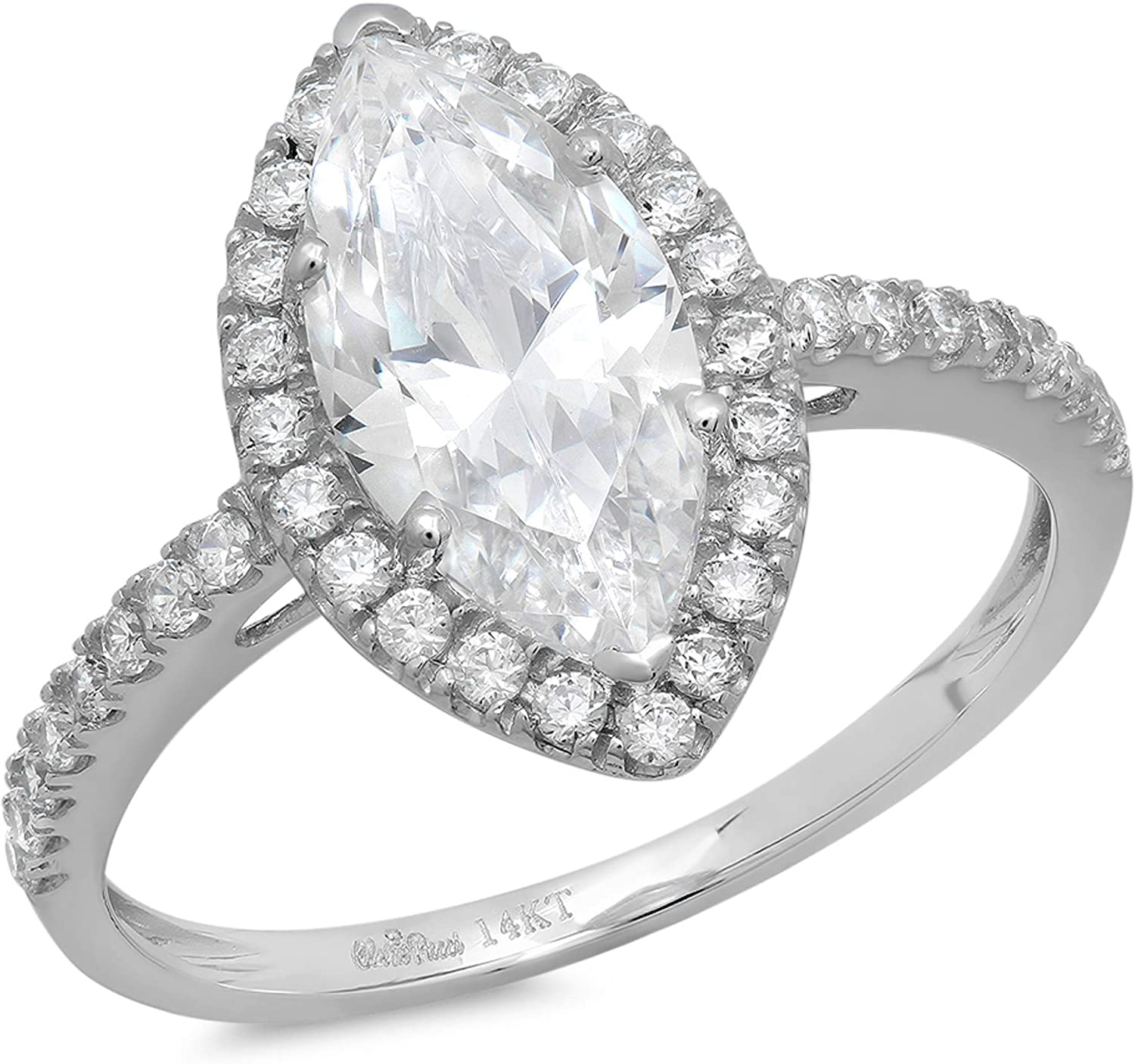 2.35ct Brilliant Marquise Cut Solitaire with Accent Halo Stunning Genuine White lab created Sapphire Ideal VVS1 D & Simulated Diamond Designer Modern Statement Ring Solid 14k White Gold Clara Pucci