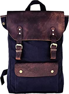 Tuzech Buffalo Backpack, Vintage Leather Laptop Backpacks Rucksack for Women and Men fits 15.6 Inch Laptop Blue