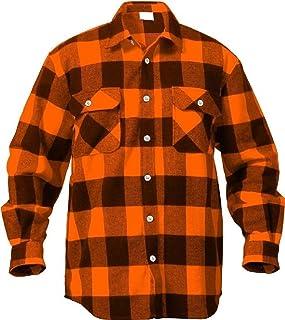 Flannel Shirt Orange & Black Extra Heavyweight Brawny Buffalo Flannel Shirt