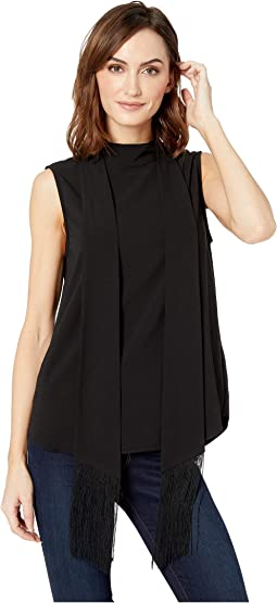 Sleeveless  Fringed Tie Mock Neck Shell