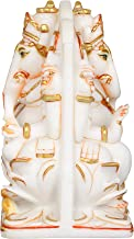 Identical Blessing Ganesha Carved on Both Sides - White Marble Statue