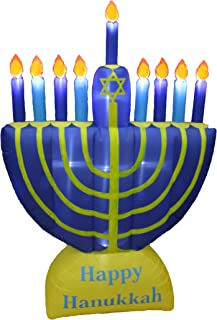 6 Foot Tall Inflatable Happy Hanukkah Menorah Candles Scene Outdoor Indoor Holiday Decorations, Blow Up LED Lights Lighted...