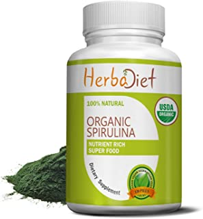 Spirulina 500mg Organic Powder Tablets Pills | Rich in Beta-Carotene (Vitamin A) and B-12 | Immune Support, Natural Multiv...