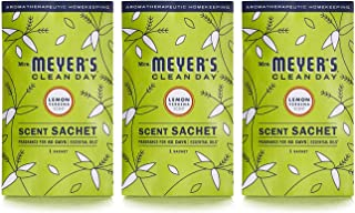 Mrs. Meyer's Clean Day Air Freshening Scent Sachets, Fragrance for lockers, cars, closets, Lemon Verbena Scent, 3 ct