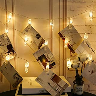 Warm White 40 LED Photos Clips String Lights, Battery Operated Fairy Twinkle Lights for DIY Wedding Party Christmas Decora...