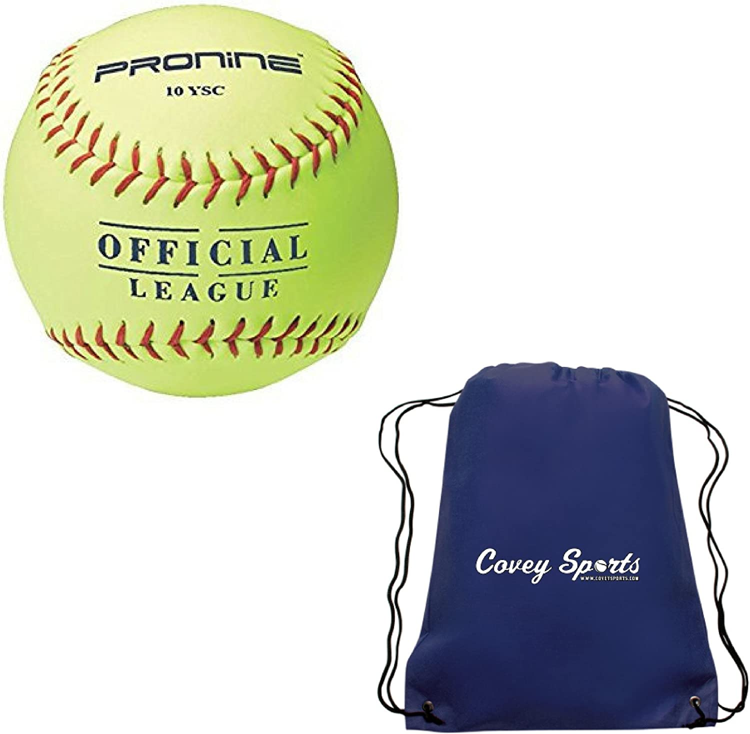 ProNine 10 Inch SoftCore Softballs for 8U 6U Girls (3Pack and 6Pack) Bundled with Covey Sports Bag