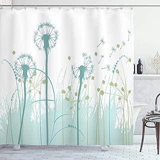Ambesonne Spring Shower Curtain, Silhouette Dandelion Floral Foliage Seasonal Blooms Botany Eco Illustration, Cloth Fabric Bathroom Decor Set with Hooks, 84