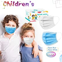 Liloee Children's Cover Solid Color Disposable High-Quality Cover 25 Blue +25 White