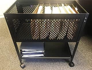 Hanging File Folder Cart on Wheels, Rolling Storage Cart File Organizer, Mesh Folder Cart with Durable Steel Construction, Holder Hanging File Box, Metal Rolling File Cabinet with Shelf & eBook by TD