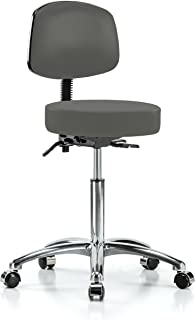 Perch Chrome Walter Rolling Height Adjustable Doctor's Stool with Back for Hardwood or Tile | Workbench Height | 300-Pound Weight Capacity | 12 Year Warranty (Charcoal Vinyl)
