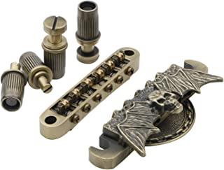 6 String Chrome Guitar Roller Saddle Tune-O-Matic Bronze Bridge Tailpiece for LP Electric Guitar Replacement Parts, Pack of 1