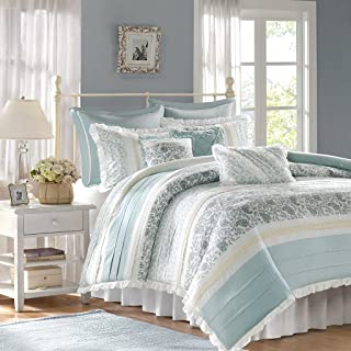 Madison Park Dawn Duvet Cover King Size - Aqua , Floral Shabby Chic Duvet Cover Set – 9 Piece – 100% Cotton Percale Light Weight Bed Comforter Covers