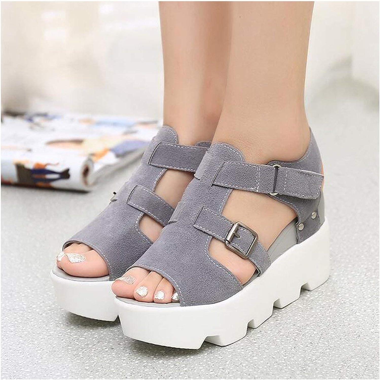 HANBINGPO Plus Size Bohemian Women Sandals Ankle Strap Straw Platform Wedges for Female shoes Flock High Heels Cover Heel Sandal,orange 10cm,10.5