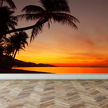 Wall Mural Tropical Sunset Beach With Palm Tree Peel And Stick Repositionable Fabric Wallpaper For Interior Home Decor 70 W X 51 H Amazon Com