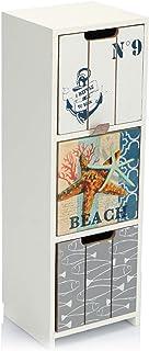 com-four® Mini cajonera con 3 cajones - gabinetes de Madera con un diseño marítimo - Mini gabinete para Guardar Joyas cos...