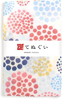 彩(irodori) ガーゼ手ぬぐい 花水玉 ピンク 和調色 二重袷 ほつれ防止加工 約32×88cm