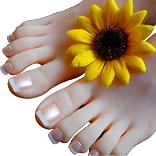 SUNNY RAIN 1 Pair Silicone Life Size Female Mannequin Foot Shoes Display Model Art Sketch Display Sandal Shoe Sock (with Nails)