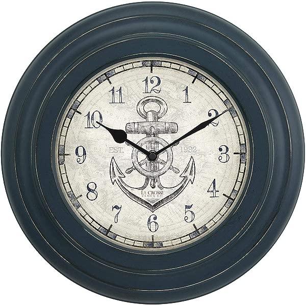 Nautical LA Crosse 14 INCH Distressed Blue Metal Wall Clock W Anchor DIAL