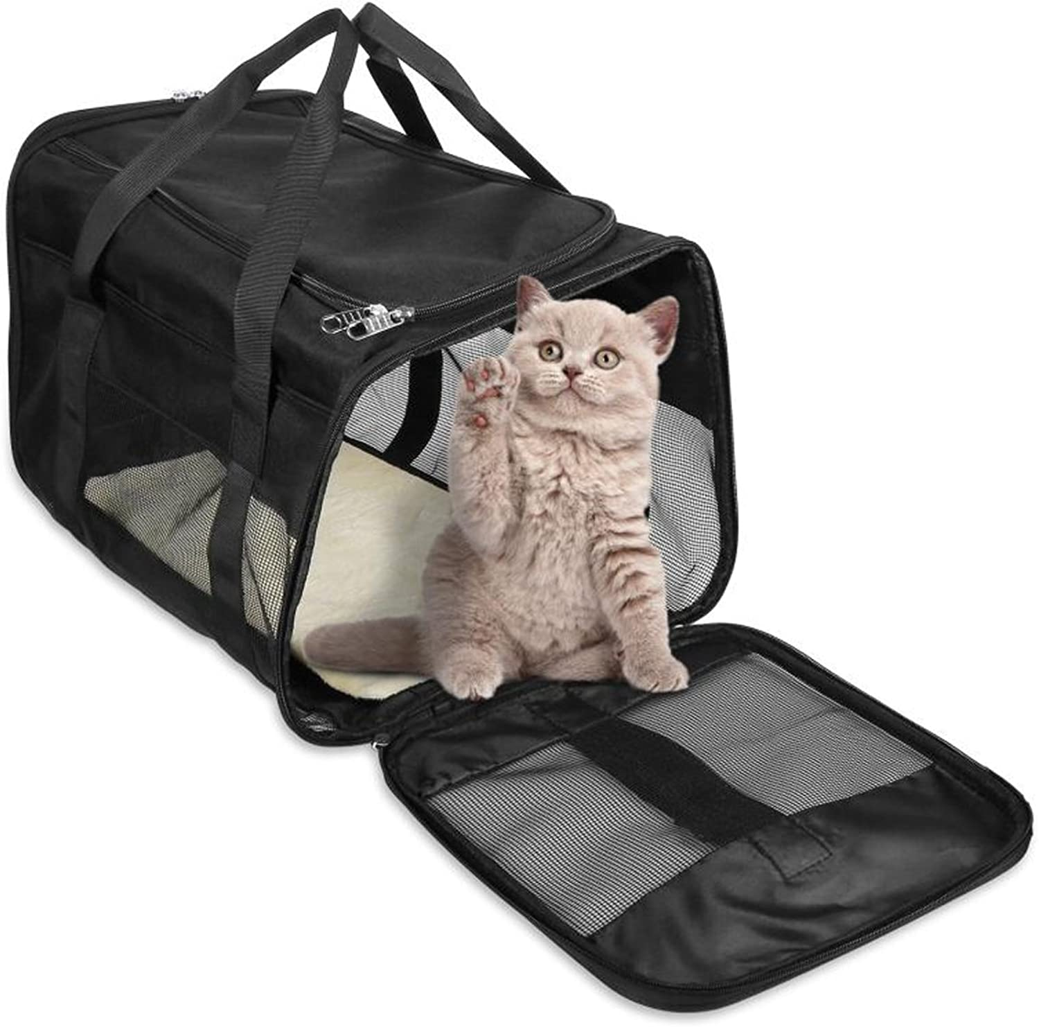 Dog Carriers for Small Dogs 18.9X11.8X11 Cat Carriers for Medium Cats Cat Carrier Pet Carrier Suitable for Small Dogs and Cats Large and Medium Cats and Dogs, Puppy, Kittens, Pet Travel Carrier Black
