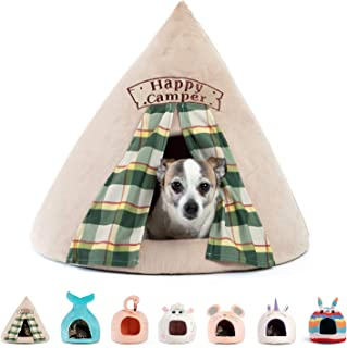 Best Friends by Sheri Novelty Meow Hut - 360 Degrees Coverage for Comfort and Security, Removable, Washable, Durable, for Pets up to 12 lbs. (Happy Camper)