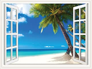 Walls 360 Peel & Stick Wall Decal Window Views Palm Tree on White Sand Ocean Beach (12 in x 9 in)