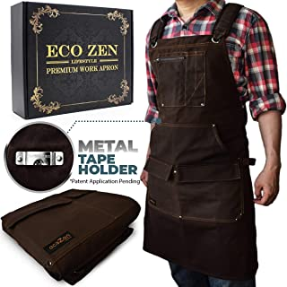 Woodworking Shop Apron – 16 oz Waxed Canvas Work Aprons | Waterproof, Fully..