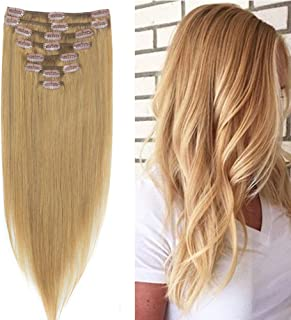 LFLIN Clip In Human Hair Extensions 100% Real Remy Dark Blonde Full Head Long Soft Silky Straight 8pcs 18clips For Women Beauty.