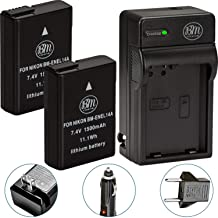 BM Premium Pack of 2 EN-EL14A Batteries and Charger for Nikon D3100, D3200, D3300, D3400, D3500, D5100, D5200, D5300, D550...