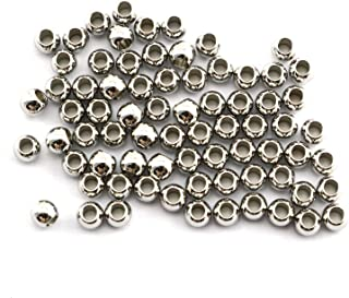 RuiLing 50-Pack 304 Stainless Steel Smooth Round Spacer Beads 2mm Hole,Seamless Loose Beads for Jewelry Making Findings DIY Crafts Accessories 4mm(Silver)