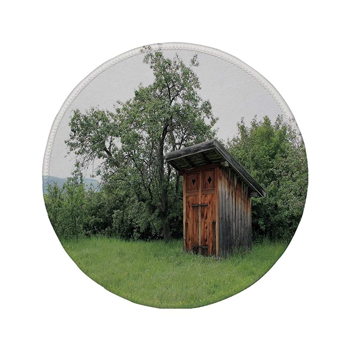 Non-Slip Rubber Round Mouse Pad,Outhouse,Wooden Little Hut Barn Shed Cottage in Nature Forest Image,Forest Green Light Green and Brown,11.8