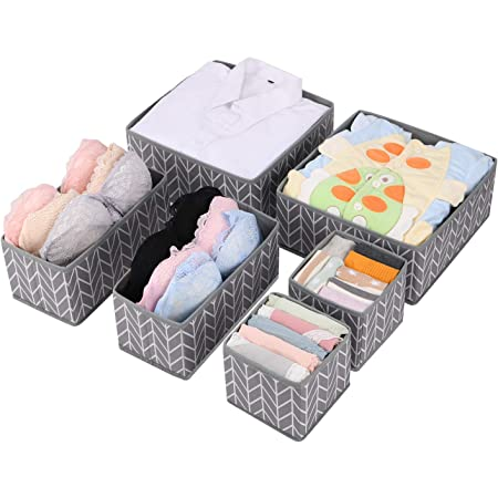 MaidMAX 6 Organiseur de Tiroir Pliable Non-tissé pour sous-vètements, Boîte de Rangement pour Armoire et tiroir de Placard, paniers de Rangement pour Chambre d'enfant, Gris