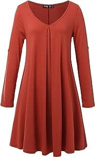JayJay Women Casual Roll up Sleeve V-Neck Simple Swing Tunic Shirt Dress